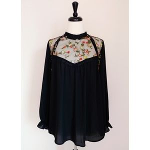 NWT Pleione Mesh Embroidered Top